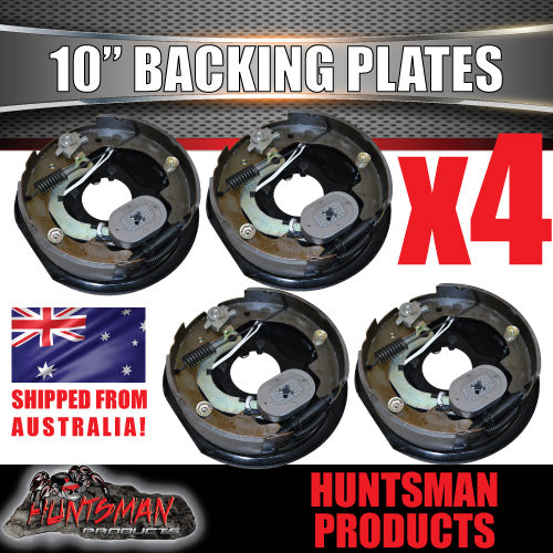 "4X 10"" ELECTRIC TRAILER DRUM BRAKE BACKING PLATES. WITH HANDBRAKE LEVERS."
