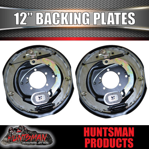 "TRAILER BRAKES 12"" ELECTRIC BACKING PLATES. X 2.  STRONG MAGNETS."