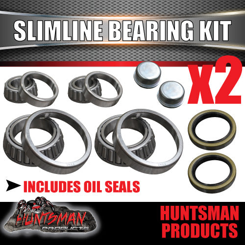 x2 (S/L) Ford Trailer Wheel Bearing Kits With Oil Seals & Dust Caps