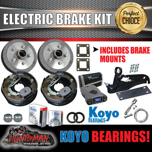"10"" Trailer Electric Brake, Coupling Kit & p3 Controller + Japanese Bearings!"