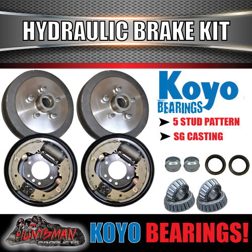 "5 Stud 9"" Hydraulic Trailer Brake Kit, Japanese Bearings"