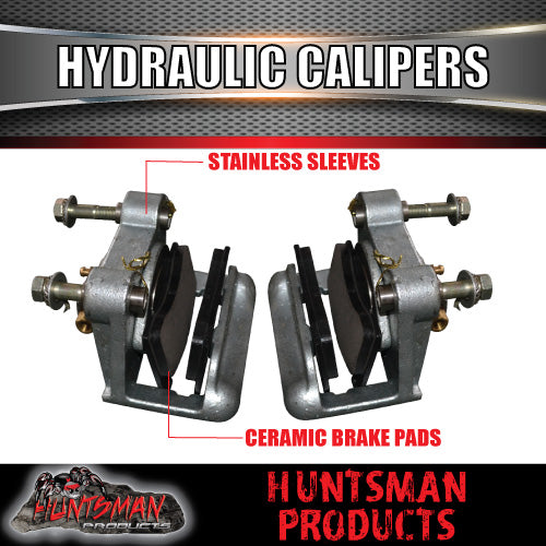 PAIR TRAILER GALVANISED HYDRAULIC DISC BRAKE CALIPERS WITH STAINLESS PISTONS .