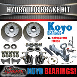 "Details about  10"" Boat Trailer Hydraulic Disc Brake Kit + coupling & hyd Line kit. Jap Bearing"