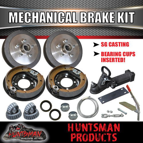 "9"" Mechanical Drum Trailer Brake Kit Inc Coupling & Fitting Kit."