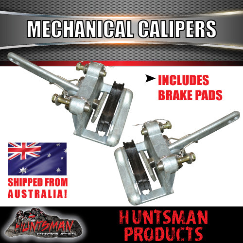 Pair Galvanised Mechanical Disc Brake Calipers,Bolts & Stainless Sleeves