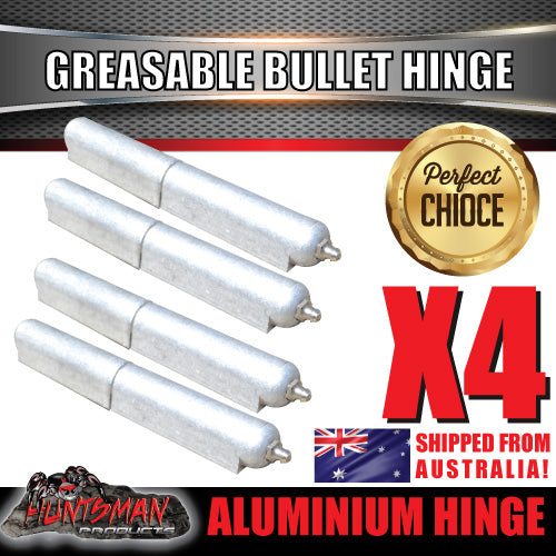 x4 200mm x 23mm Aluminium Greasable Bullet Hinges
