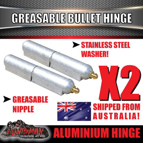 x2 100mm x 16mm Aluminium Greasable Bullet Hinges