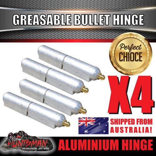 x4 100mm x 16mm Aluminium Greasable Bullet Hinges