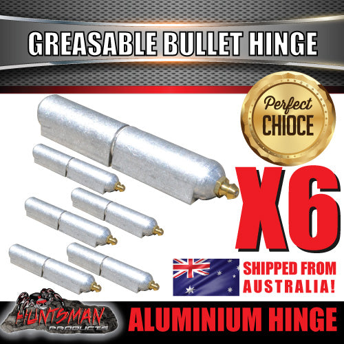 x6 100mm x 16mm Aluminium Greasable Bullet Hinges