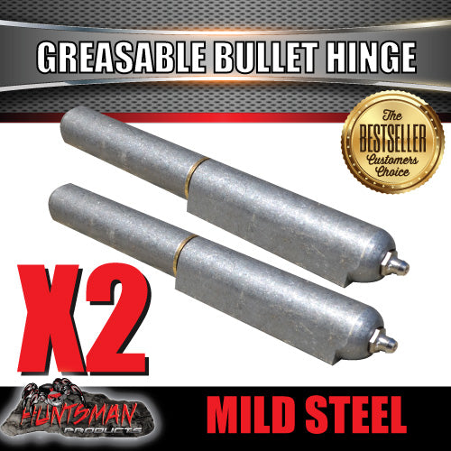 X2 Steel Greasable Bullet Hinges, Steel Pin & Brass Washer 200mm x 23mm