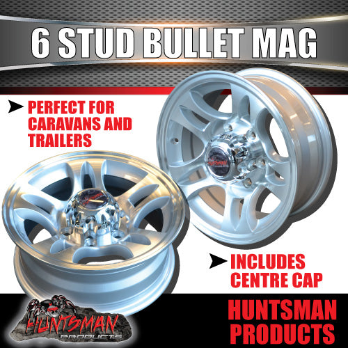15x6 6 Stud Bullet Alloy Mag Wheel.