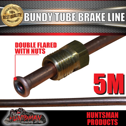 1x TRAILER BUNDY TUBE HYDRAULIC BRAKE LINE AND NUTS 5M. DOUBLE FLARED