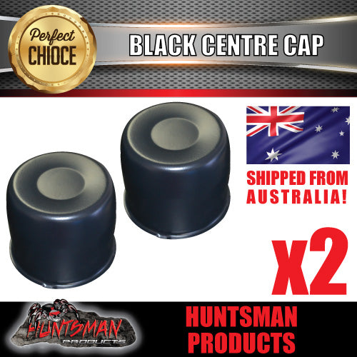 2X BLACK WHEEL CENTRE CAP- 108.7 - 115MM