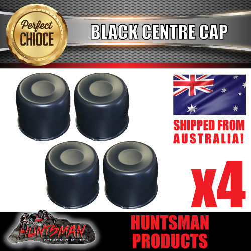 4X BLACK WHEEL CENTRE CAP- 108.7 - 115MM