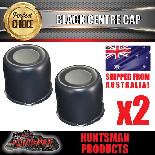 2X BLACK WHEEL CENTRE CAP- 83MM-86MM WHEEL CENTRES
