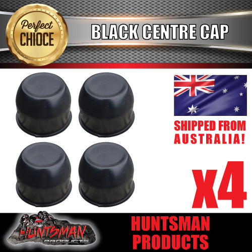 4X BLACK WHEEL CENTRE CAP- 74MM.  SUIT HT STEEL WHEELS