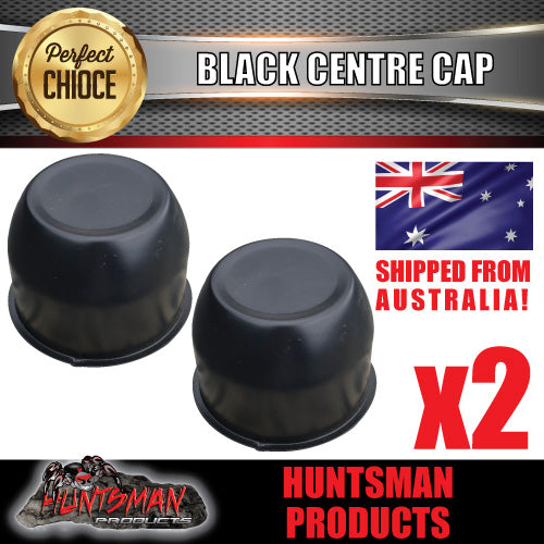 2X BLACK WHEEL CENTRE CAP- 74MM.  SUIT HT STEEL WHEELS