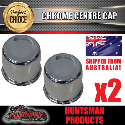 2X CHROME WHEEL CENTRE CAP- 83MM