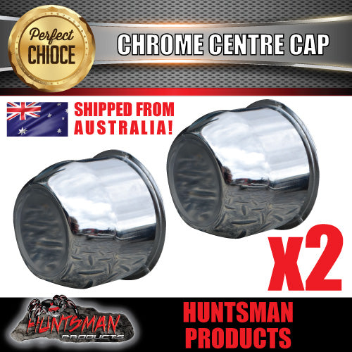 2X CHROME WHEEL CENTRE CAP- 74MM