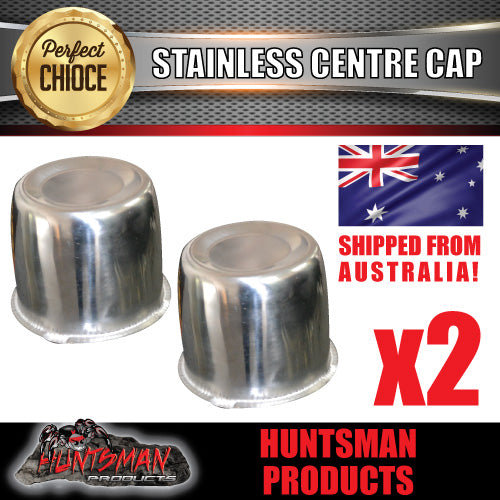 2X STAINLESS STEEL WHEEL CENTRE CAP- 83MM