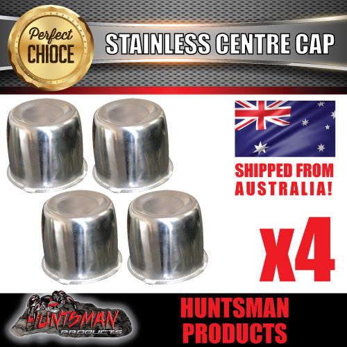4X STAINLESS STEEL WHEEL CENTRE CAP- 83MM