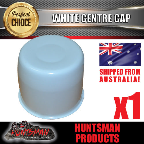 WHITE WHEEL CENTRE CAP- SUIT 108.7 -113MM CENTRE BORE
