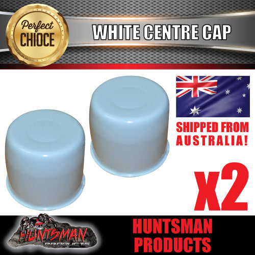 2X WHITE WHEEL CENTRE CAP- SUIT 108.7 -113MM CENTRE BORE