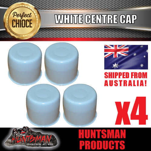 4X WHITE WHEEL CENTRE CAP- SUIT 108.7 -113MM CENTRE BORE
