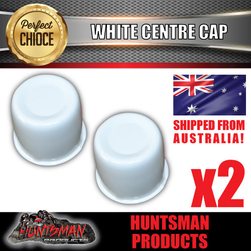 2X WHITE WHEEL CENTRE CAP- 83MM-86MM WHEEL CENTRES