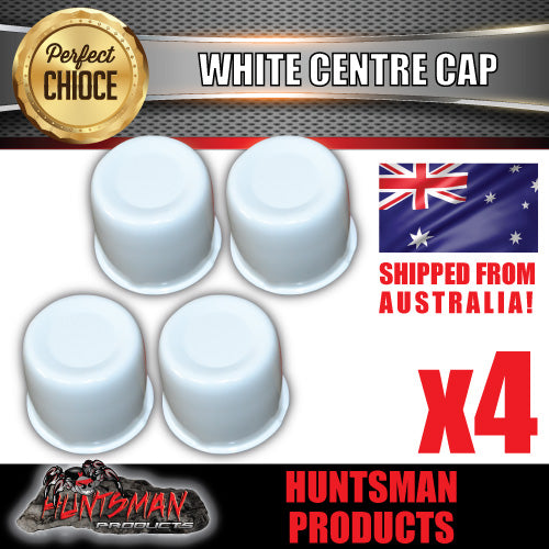 4X WHITE WHEEL CENTRE CAP- 83MM-86MM WHEEL CENTRES