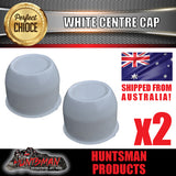 2X WHITE WHEEL CENTRE CAP- 74MM