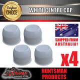 4X WHITE WHEEL CENTRE CAP- 74MM