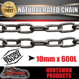 10mm X 600mm trailer rated safety chain natural finish