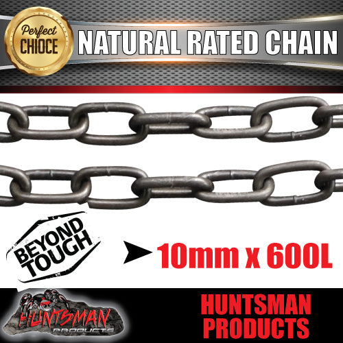 2X 10mm x 600mm trailer rated safety chain natural finish