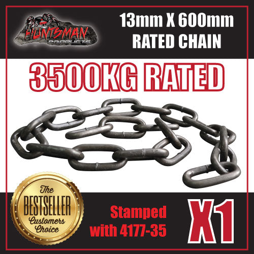 1x 13mm x 600mm trailer rated safety chain natural finish 3500kg