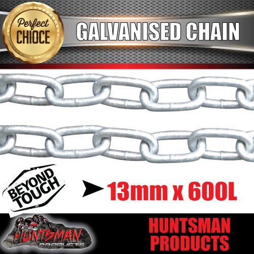 2x 13mm trailer rated safety chain galvanised finish