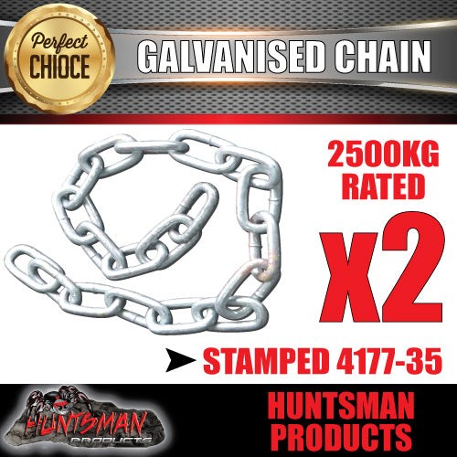 2x 10mm trailer rated safety chain galvanised finish