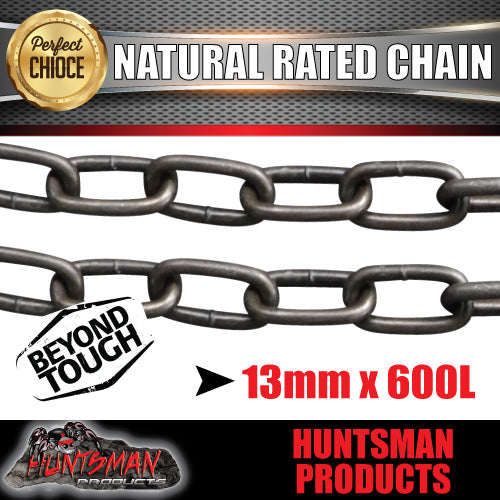 2X 13mm x 600mm trailer rated safety chain natural finish