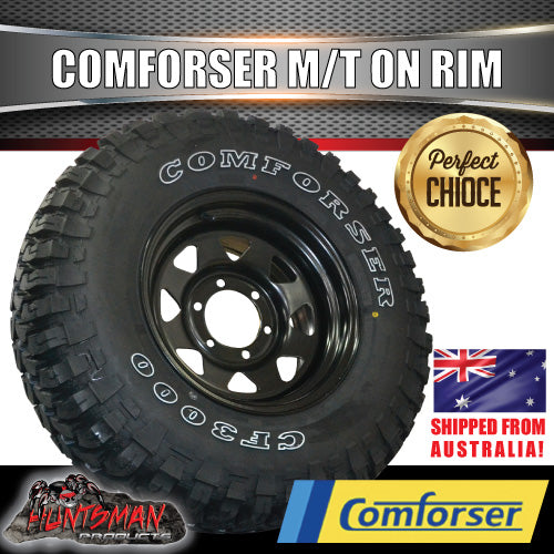 "285/75R16 L/T Comforser Mud tyre on 16"" black steel wheel"