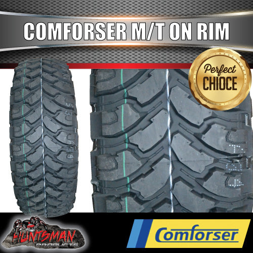 "35x12.5R17 L/T Comforser MUD tyre on 17"" black steel rim. 35 12.5 17"