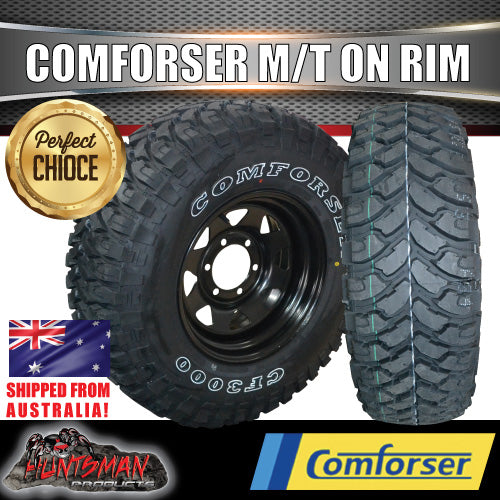 "225/75R16 L/T Comforser  Mud tyre on 16"" black steel wheel"