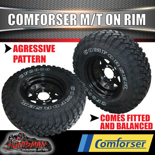 "35x12.5R15 L/T Comforser Mud tyre on 15"" black steel rim. 35 12.5 15"