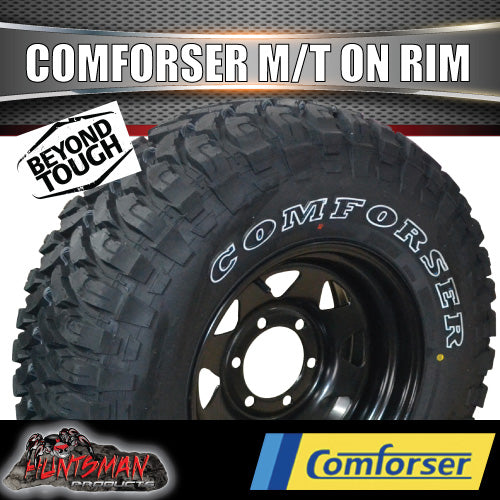 "32x11.5R15L/T Comforser Mud tyre on 15"" black steel rim. 32 11.5 15"