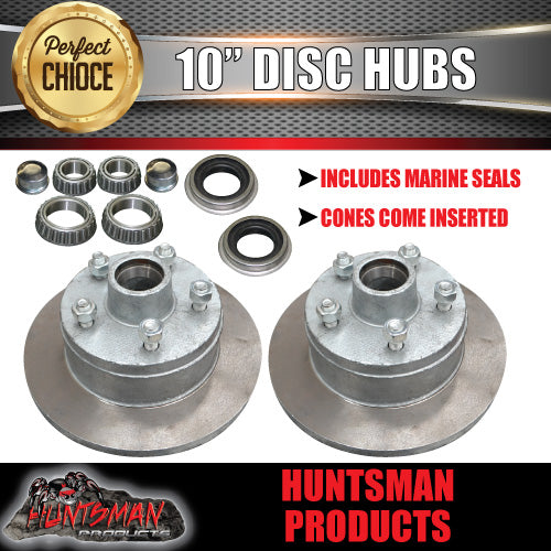 TRAILER GALVANISED DISC HUBS SUIT FORD X 2. WITH LM (HOLDEN) BEARINGS