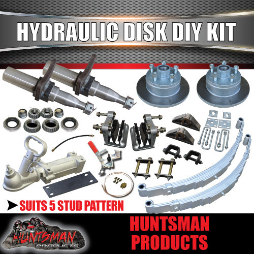 DIY 1400kg Kit Hydraulic Disc Eye to Eye Springs, Stub Axles
