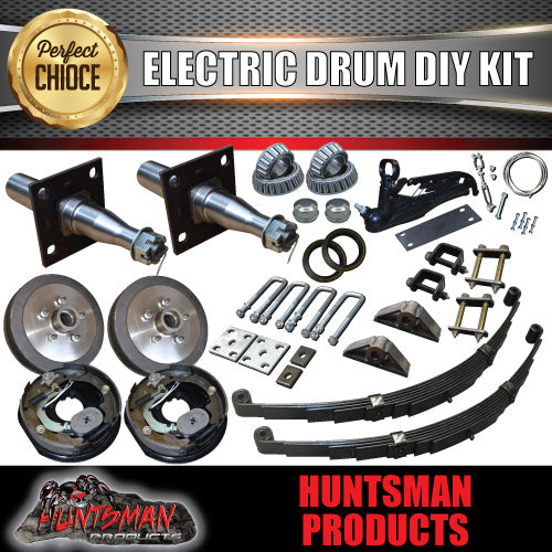 DIY 1400KG Trailer Kit. Eye to Eye Springs Electric Drum Brakes. Stub Axles
