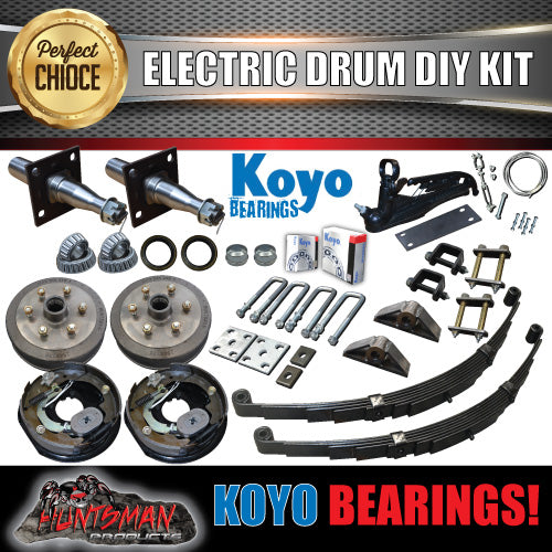 DIY 1400KG Trailer Kit. Eye to Eye Springs Electric Drum Brakes. Stub Axles. Koyos