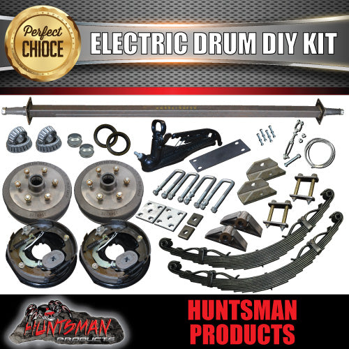 1600KG DIY Off Road Trailer Kit. Outback Springs, Electric Brakes. Electric Coupling