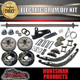 1400KG DIY Off Road Trailer Kit. Outback Springs, Electric Brakes. Electric Coupling