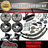 1400KG DIY Off Road Trailer Kit. Electric Brakes. Outback Springs, Stub Axles